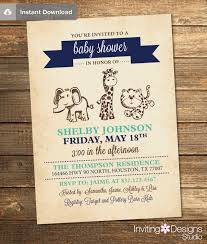 instant download baby shower invitations safari baby shower invitation navy blue mint green animals
