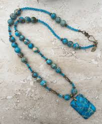 long blue necklace images Blue jasper necklace long boho necklace sea sediment jasper jpg
