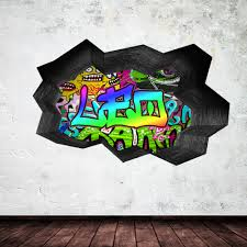 full colour personalised 3d graffiti name cracked wall sticker full colour personalised 3d graffiti name cracked wall