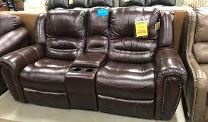 flexsteel rocking reclining console leather loveseat bailey u0027s