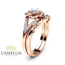 natural engagement rings images 14k rose gold engagement ring set natural diamond rings flower jpg