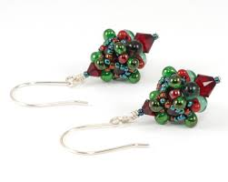 pagoda earrings bead origami pagoda beaded charm earrings