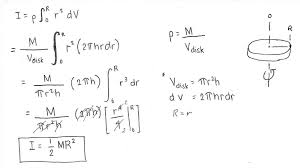 how to derive the formula for moment of inertia of a disc about an