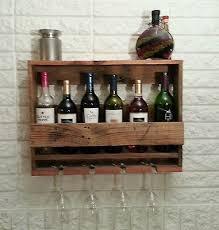 handmade rustic oak wine rack wall mounted holds 4 glasses wall