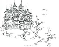 halloween castle and skeleton halloween coloring pages for