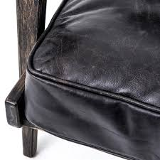 Black Leather Armchairs Rider Mid Century Modern Oak Black Leather Armchair Kathy Kuo Home