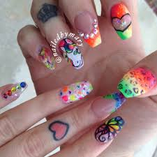 free hand nail art toturial fantasy butterflies lisa frank inspired cheetah print hearts rainbow colorful bright