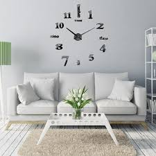 large black mirror wall clock 3d hanging clock bracket clock