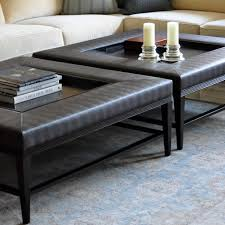living room wonderful square brown leather ottoman coffee table