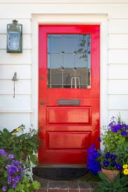 exteriors modern red front door with brick stone wall theme and