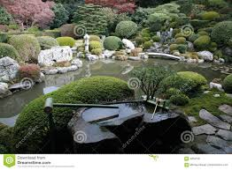 japanese rock garden and pond stock photo image 4054750