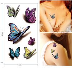 waterproof temporary tattoo sticker 3d butterfly tattoo color