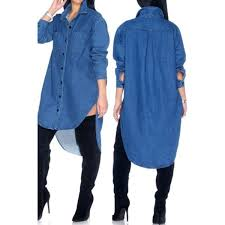 denim blouses high low hem single breasted stylish shirt collar sleeve