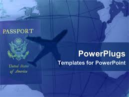 powerpoint template american passport with shadow of airplane in