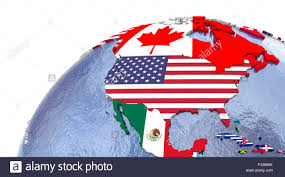 North America Country Map by Political Map Of North America With Each Country Represented By