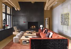 Livingroom Fireplace by Blackened Steel Frames A Large Fireplace In This Living Room In