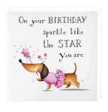 dachshund birthday sparkle greeting card cumpleaños