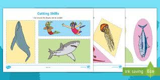 ocean life cutting skills activity sheets worksheets animals