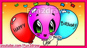 how to draw easy cute things happy birthday balloons fun2draw