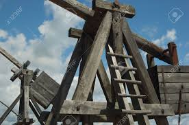 siege engines wooden siege engines or weapons on a day