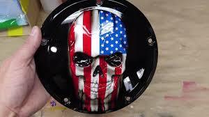 American Flag Skull Tattered American Flag Skull On A Harley Davidson Touring Flags