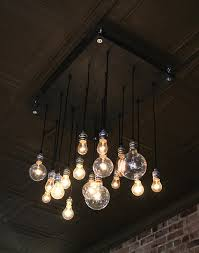Hanging Edison Bulb Chandelier Handmade Urban Chandelier Made From Rescued Plywood And Recylced
