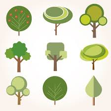 collection of trees in flat design vector free