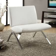 Faux Leather Accent Chair Modern Accent Chair In White Faux Leather And Chrome Metal I 8074