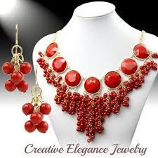 earrings statement necklace images Red cluster beaded chunky statement necklace earrings set jpg
