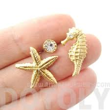 seahorse starfish and rhinestone allergy free stud earrings in