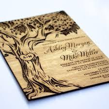 sample oak tree wooden wedding invitation real wood laser