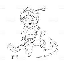 coloring page outline of cartoon boy playing hockey stock vector