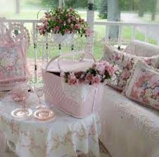 pink shabby chic roses picnic basket front porch pink and white
