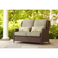Sofa With Pillows Brown Jordan Vineyard Patio Loveseat With Meadow Cushions And
