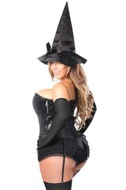 bustier halloween costumes black top drawer 4 pc sequin witch corset costume