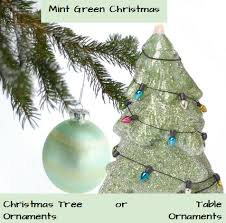 mint green ornaments glowing holidays