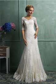 modest wedding gowns mermaid scalloped neck sleeve vintage lace wedding dress