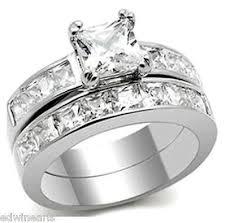 stainless steel wedding rings his hers aaa quality cz wedding ring set stainless steel wedding