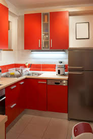 Red Backsplash Kitchen Red Colour Kitchen Design With L Shaped Kitchen Cabinet Together