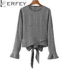 houndstooth blouse lerfey houndstooth blouse flare sleeve o neck plaid shirt