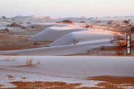 Snow In Sahara Snow In The Desert At The Northern Part Of Saudi Arabia 9gag