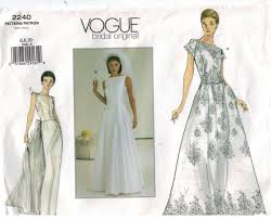 vintage wedding dress patterns vogue pattern 2240 bridal wedding gown sizes 6 8 10 sewing