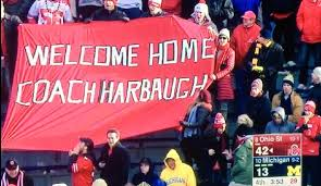 ohio state buckeye fan ohio state fans taunt jim harbaugh with great banner larry brown