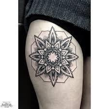 dotwortk snowflake tattoo on thigh best tattoo ideas gallery