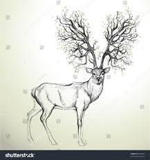 deer antler like tree realistic sketch stock vector 82009303