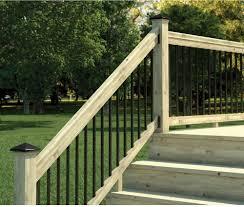 porch stair railing kit wood black aluminum balusters 6 foot