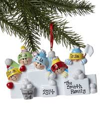 treasured ornaments five person snowball family personalized