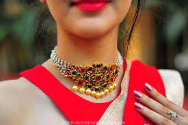 indian chokers necklace images Pearl choker necklace by aarni south india jewels jpg