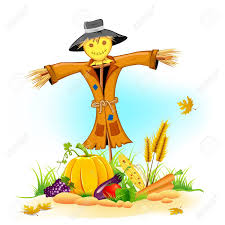 illustration of scarecrow with thanksgiving vegetable royalty free