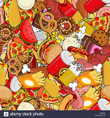 fast food seamless pattern feed ornament background pizza